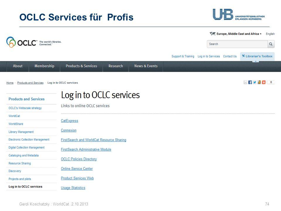 OCLC Services für Profis