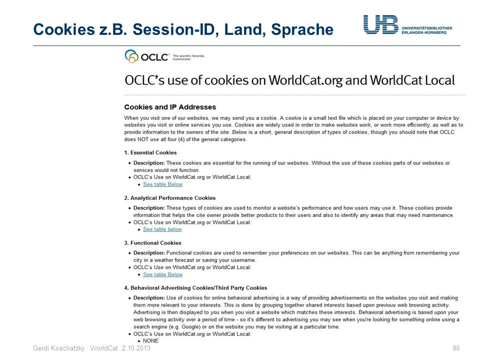 Cookies z.B. Session-ID, Land, Sprache