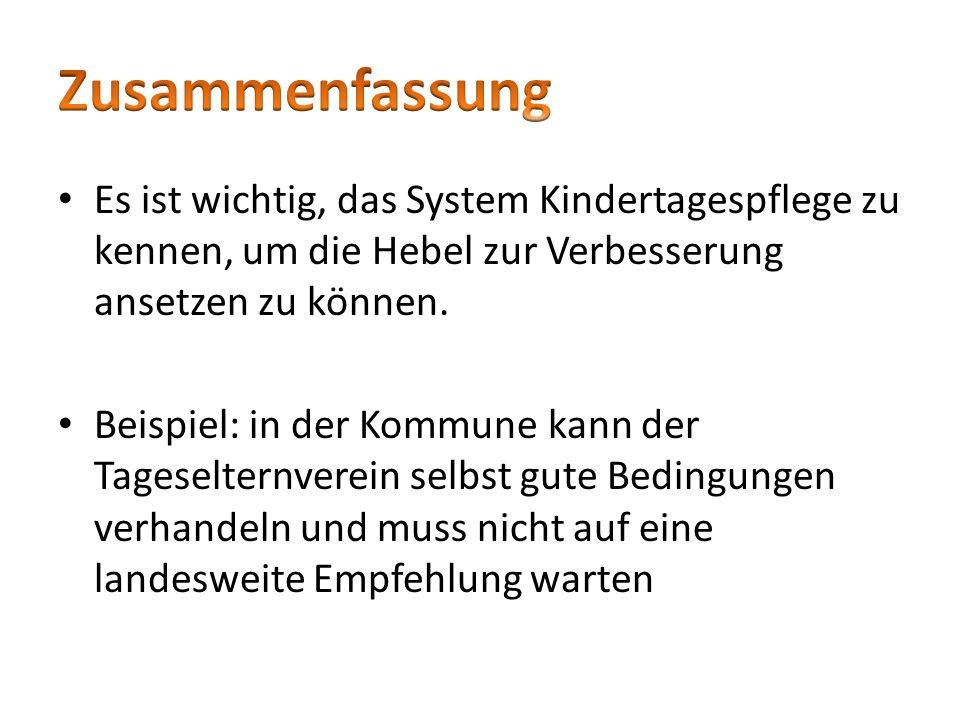 Zusammenfassung Es ist wichtig, das System Kindertagespflege zu kennen, um die Hebel zur Verbesserung ansetzen zu können.