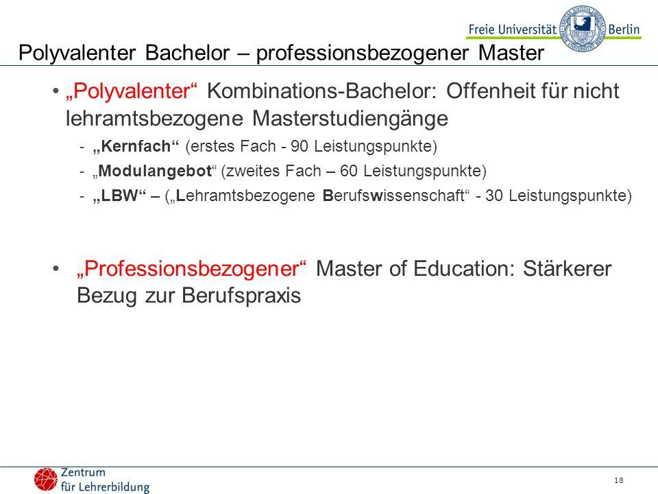 Polyvalenter Bachelor – professionsbezogener Master