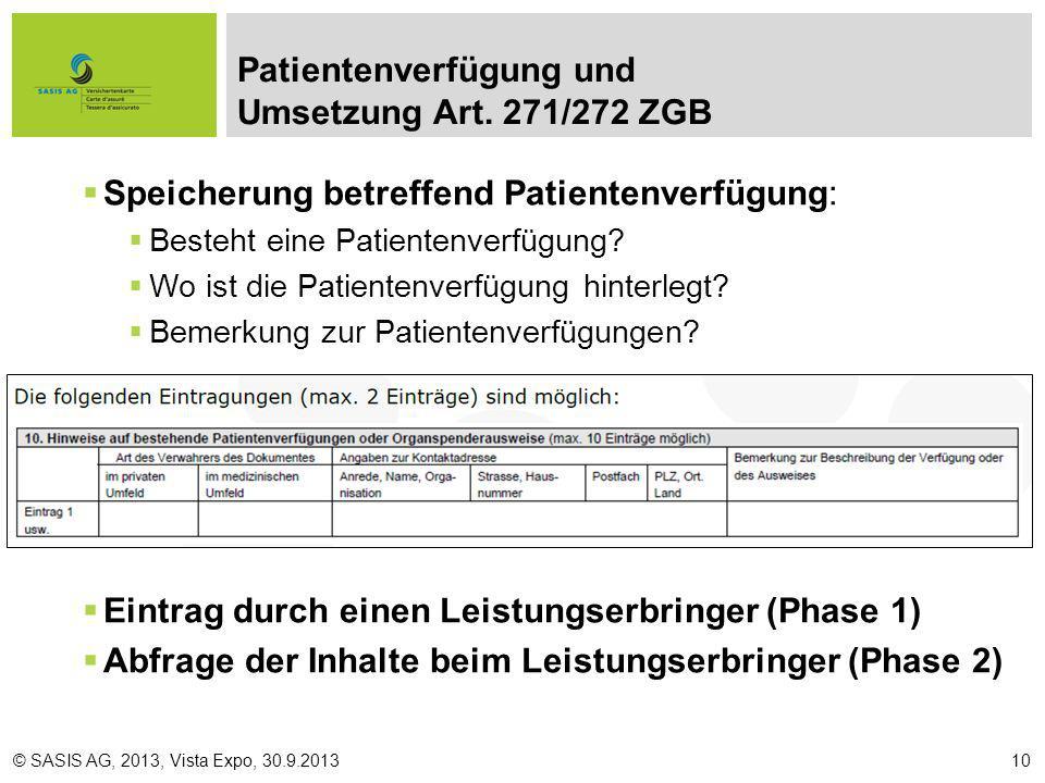 Patientenverfügung und Umsetzung Art. 271/272 ZGB