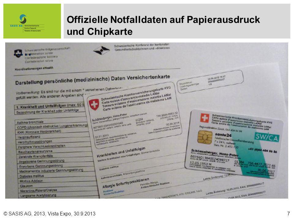 Offizielle Notfalldaten auf Papierausdruck und Chipkarte