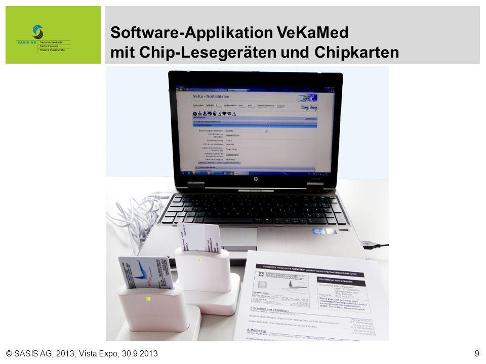 Software-Applikation VeKaMed mit Chip-Lesegeräten und Chipkarten