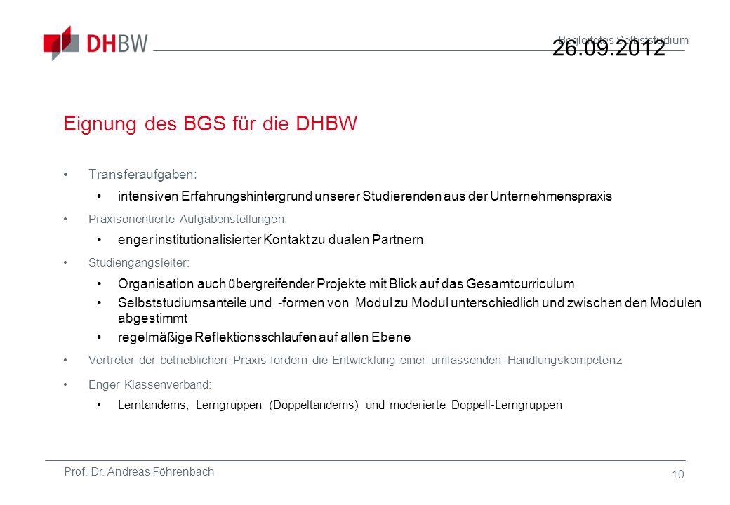 Eignung des BGS für die DHBW