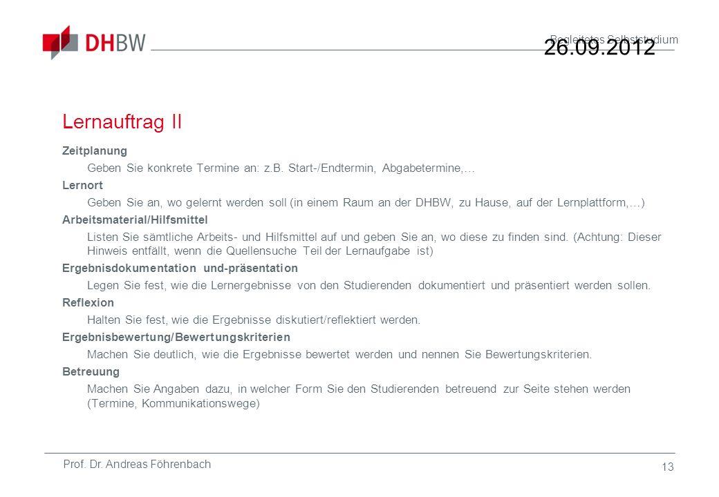 26.09.2012 Lernauftrag II.