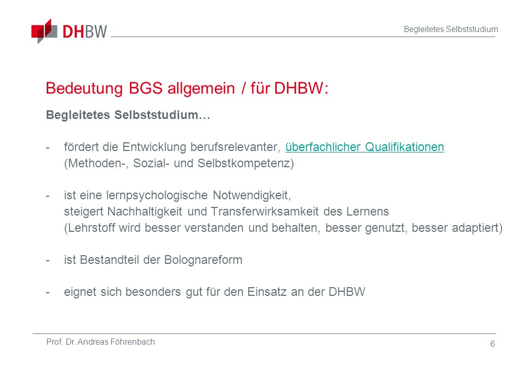 Bedeutung BGS allgemein / für DHBW: