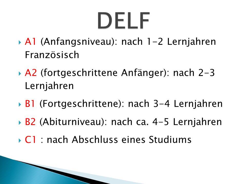 DELF A1 (Anfangsniveau): nach 1-2 Lernjahren Französisch