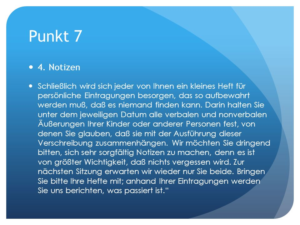 Punkt 7 4. Notizen.