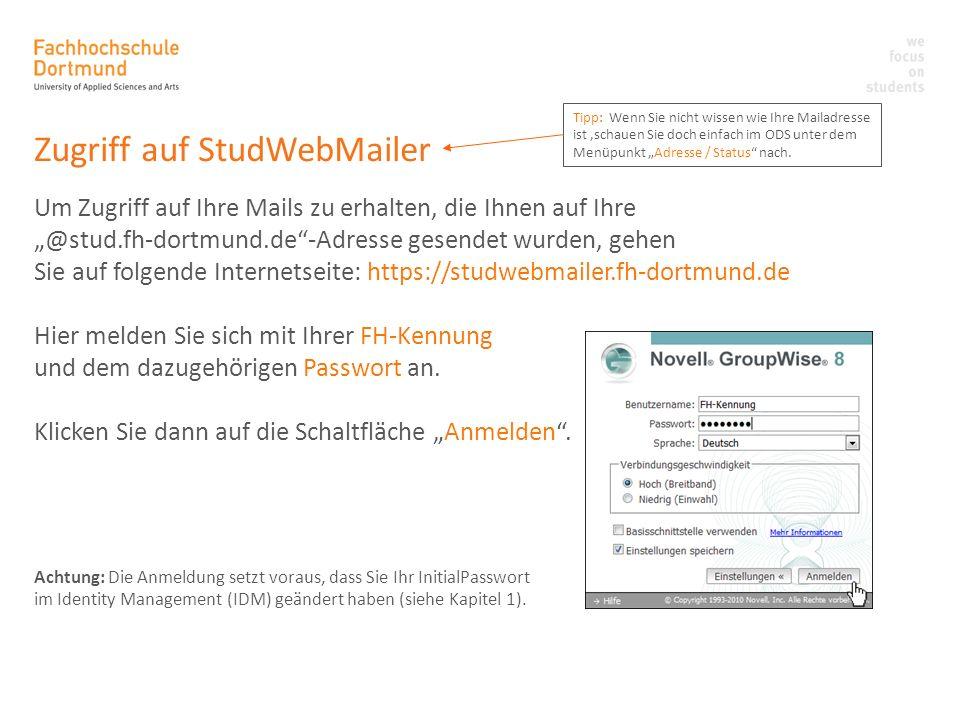 Zugriff auf StudWebMailer