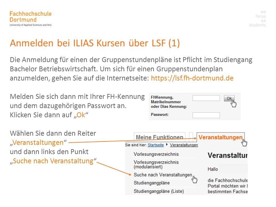Anmelden bei ILIAS Kursen über LSF (1)