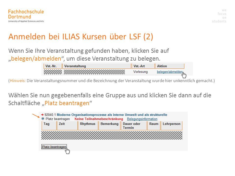 Anmelden bei ILIAS Kursen über LSF (2)