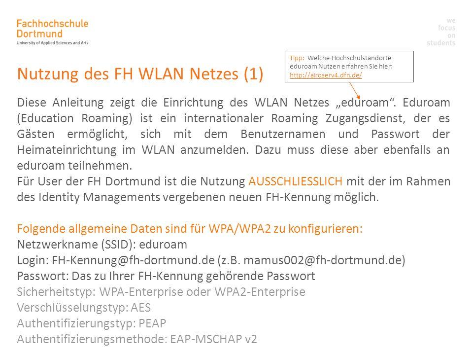 Nutzung des FH WLAN Netzes (1)