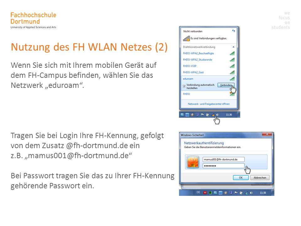 Nutzung des FH WLAN Netzes (2)