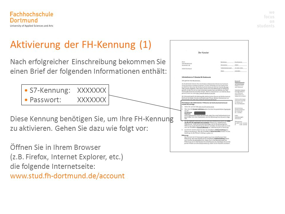 Aktivierung der FH-Kennung (1)