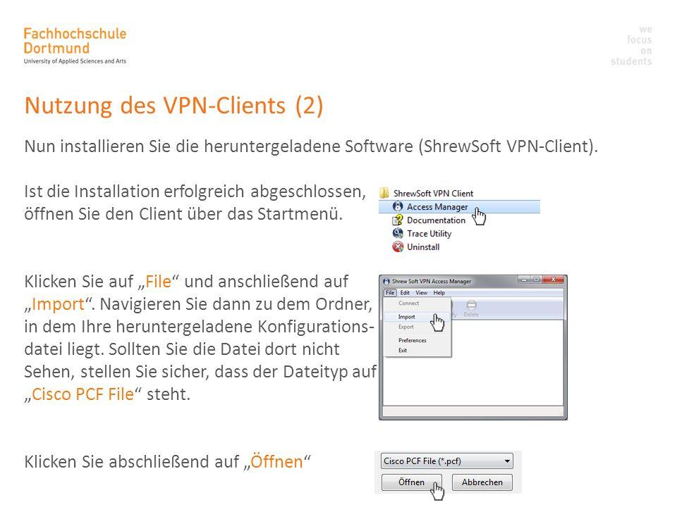 Nutzung des VPN-Clients (2)