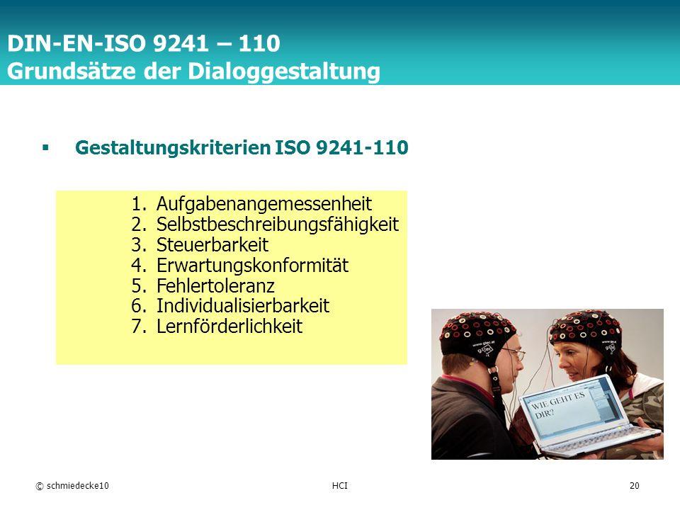 DIN-EN-ISO 9241 – 110 Grundsätze der Dialoggestaltung