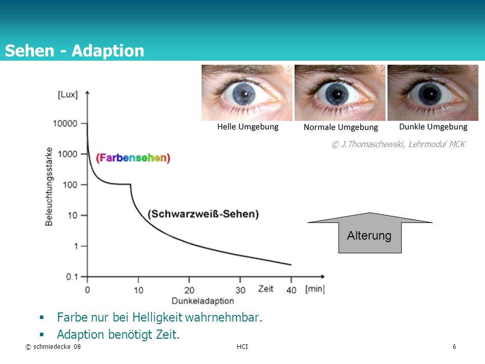 Sehen - Adaption Alterung Farbe nur bei Helligkeit wahrnehmbar.
