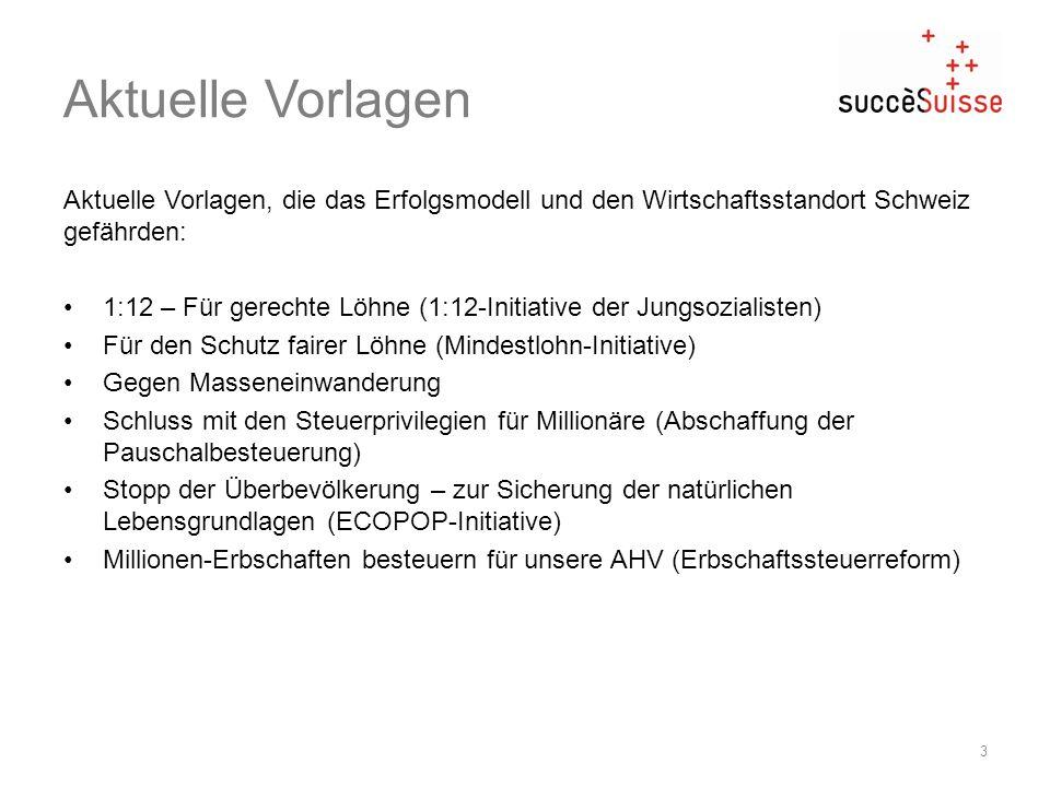 Aktuelle Vorlagen Aktuelle Vorlagen, die das Erfolgsmodell und den Wirtschaftsstandort Schweiz gefährden: