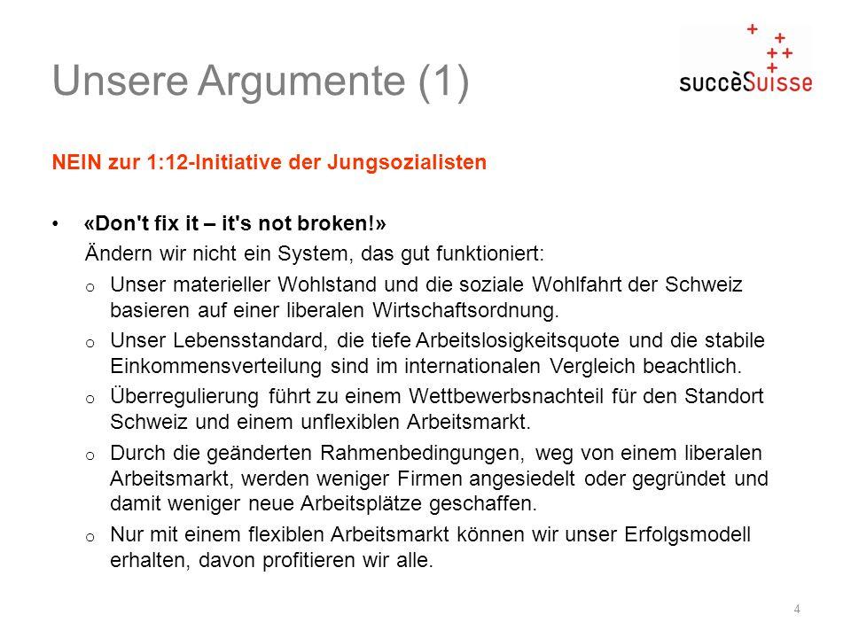 Unsere Argumente (1) NEIN zur 1:12-Initiative der Jungsozialisten