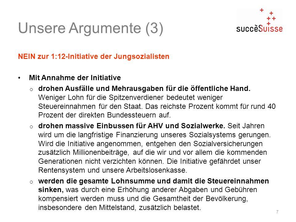 Unsere Argumente (3) NEIN zur 1:12-Initiative der Jungsozialisten