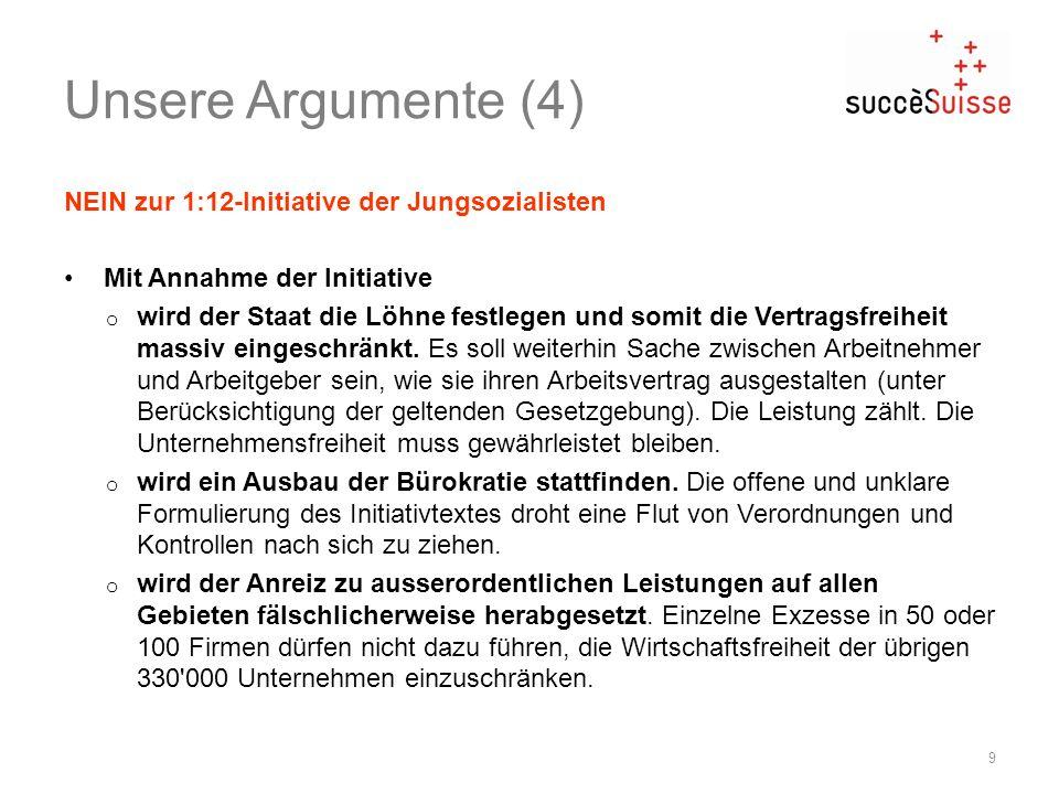 Unsere Argumente (4) NEIN zur 1:12-Initiative der Jungsozialisten