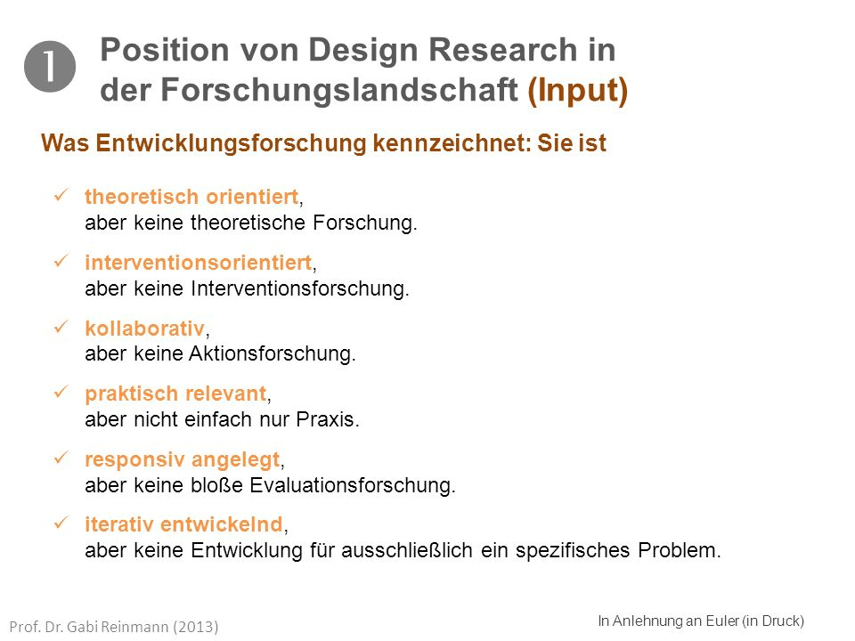  Position von Design Research in der Forschungslandschaft (Input)