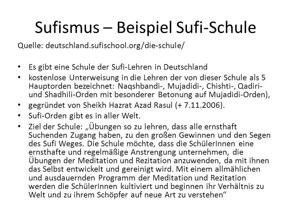 Sufismus – Beispiel Sufi-Schule
