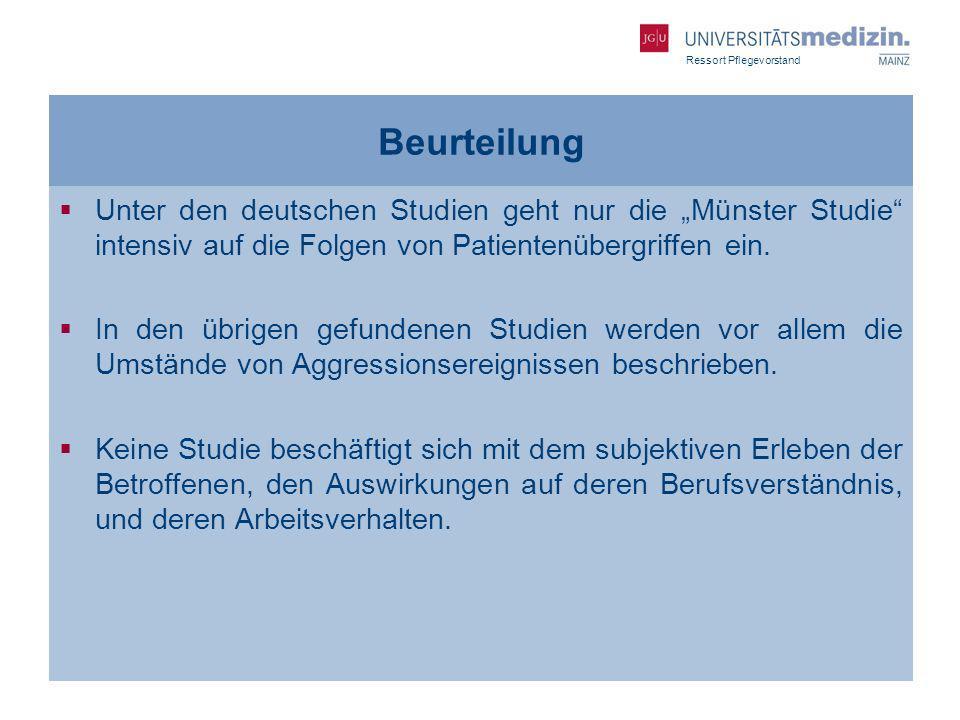 """Beurteilung Unter den deutschen Studien geht nur die """"Münster Studie intensiv auf die Folgen von Patientenübergriffen ein."""