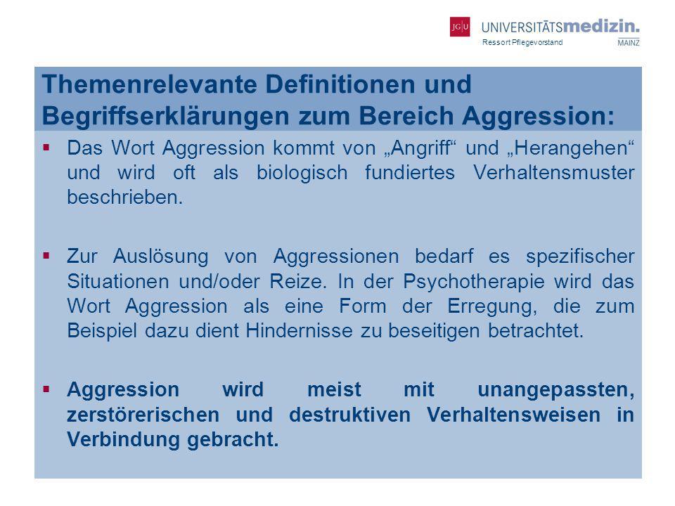 Themenrelevante Definitionen und Begriffserklärungen zum Bereich Aggression: