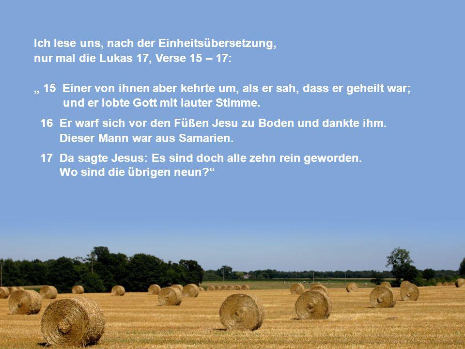 """Ich lese uns, nach der Einheitsübersetzung, nur mal die Lukas 17, Verse 15 – 17: """" 15 Einer von ihnen aber kehrte um, als er sah, dass er geheilt war; und er lobte Gott mit lauter Stimme."""