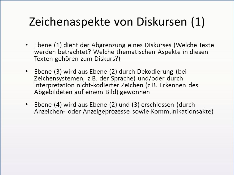 Zeichenaspekte von Diskursen (1)