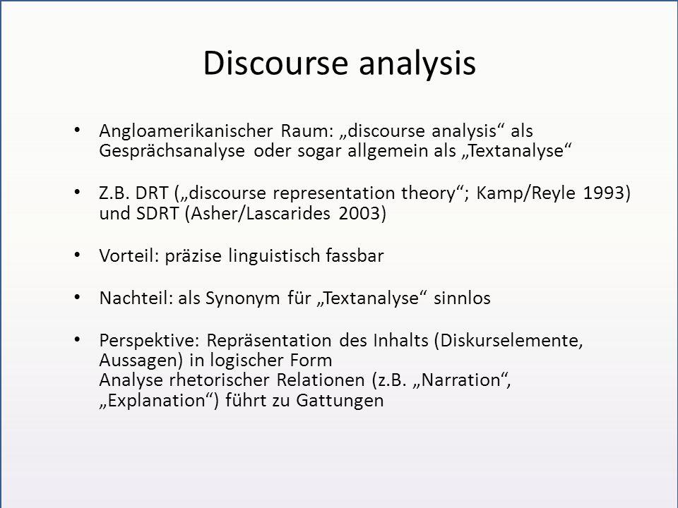"""Discourse analysis Angloamerikanischer Raum: """"discourse analysis als Gesprächsanalyse oder sogar allgemein als """"Textanalyse"""