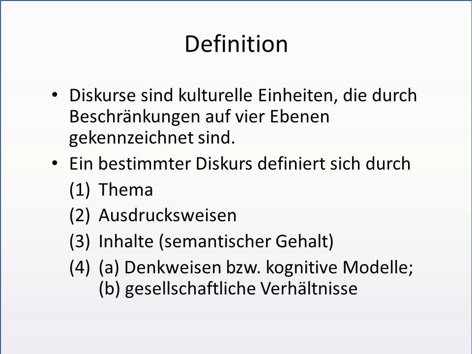 Definition Diskurse sind kulturelle Einheiten, die durch Beschränkungen auf vier Ebenen gekennzeichnet sind.