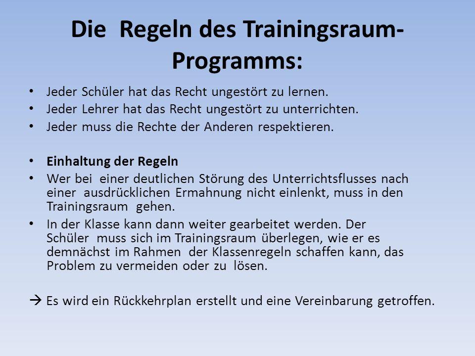 Die Regeln des Trainingsraum-Programms: