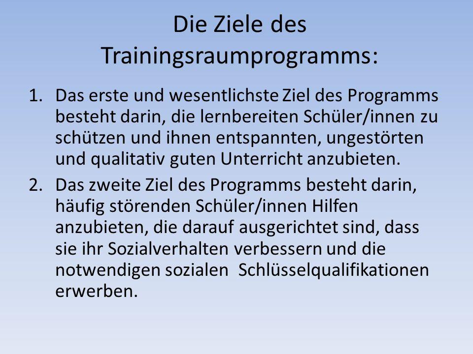 Die Ziele des Trainingsraumprogramms: