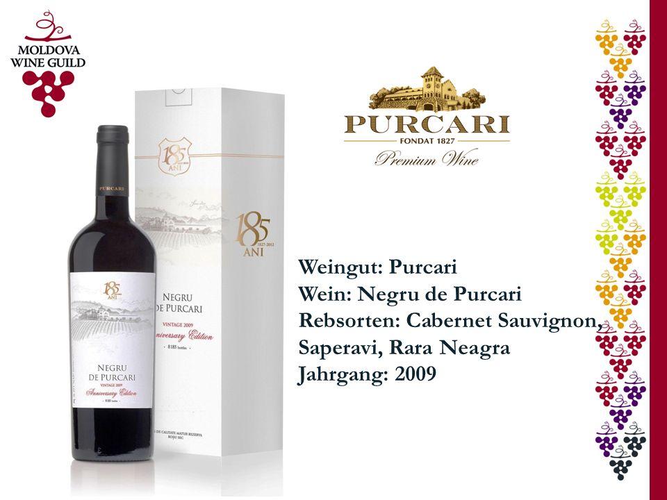 Weingut: Purcari Wein: Negru de Purcari. Rebsorten: Cabernet Sauvignon, Saperavi, Rara Neagra.