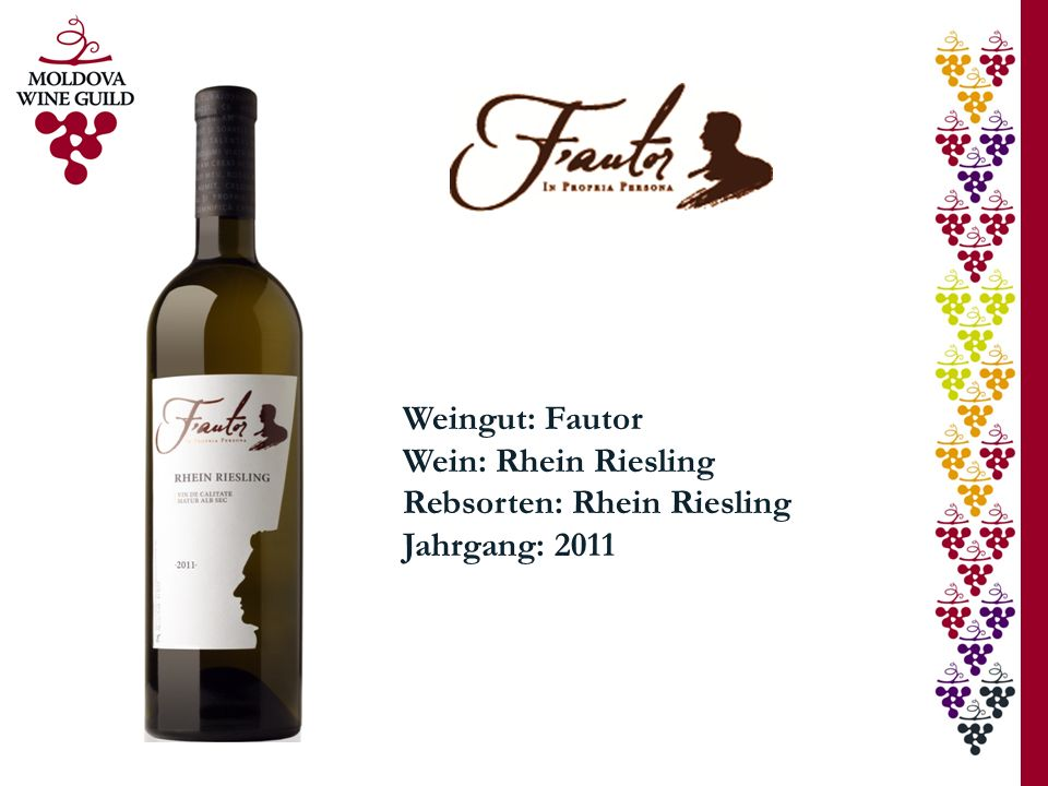 Weingut: Fautor Wein: Rhein Riesling Rebsorten: Rhein Riesling Jahrgang: 2011