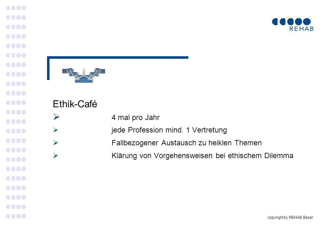 Ethik-Café 4 mal pro Jahr jede Profession mind. 1 Vertretung