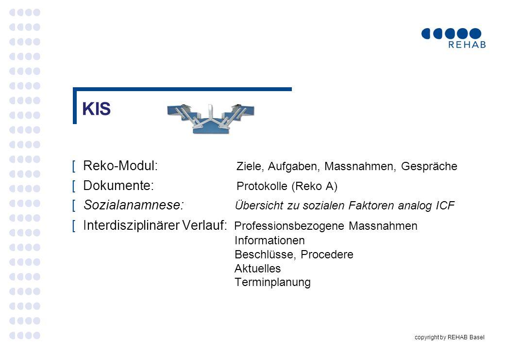 KIS Reko-Modul: Ziele, Aufgaben, Massnahmen, Gespräche