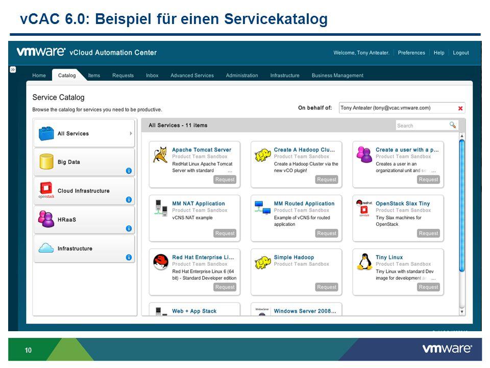 vCAC 6.0: Beispiel für einen Servicekatalog