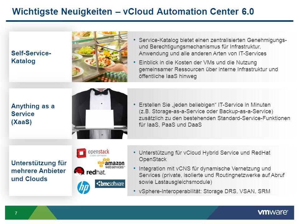 Wichtigste Neuigkeiten – vCloud Automation Center 6.0