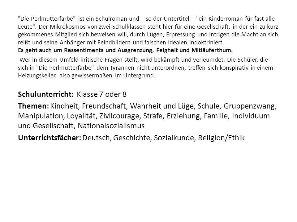 Unterrichtsfächer: Deutsch, Geschichte, Sozialkunde, Religion/Ethik