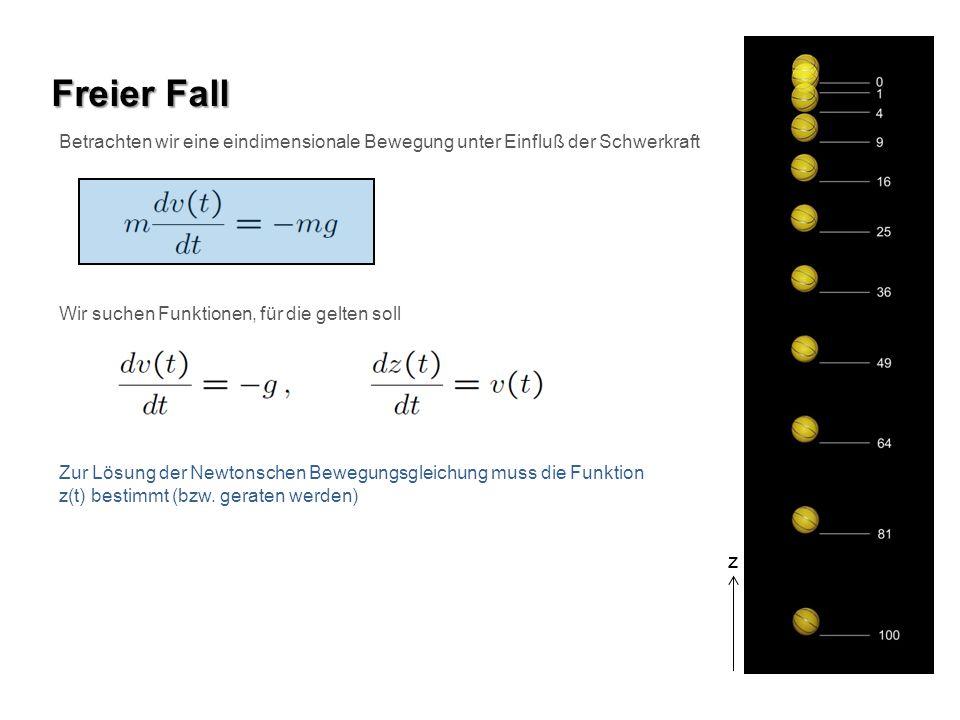 Freier Fall Betrachten wir eine eindimensionale Bewegung unter Einfluß der Schwerkraft. Wir suchen Funktionen, für die gelten soll.