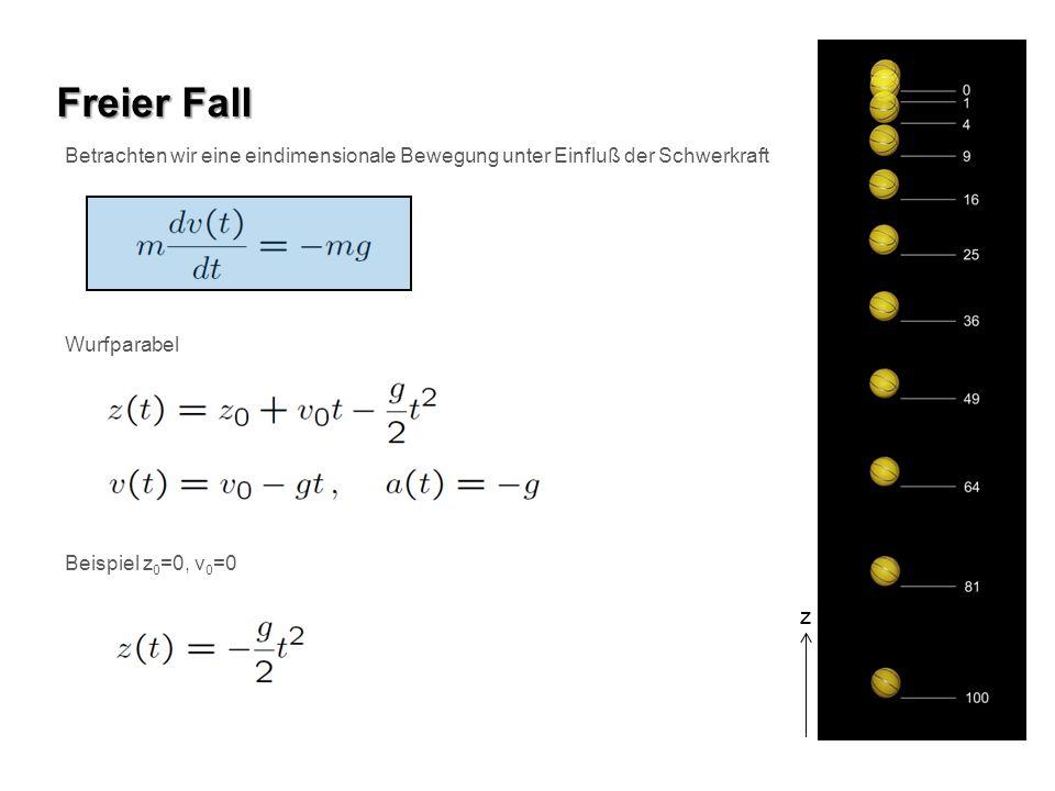 Freier Fall Betrachten wir eine eindimensionale Bewegung unter Einfluß der Schwerkraft. Wurfparabel.