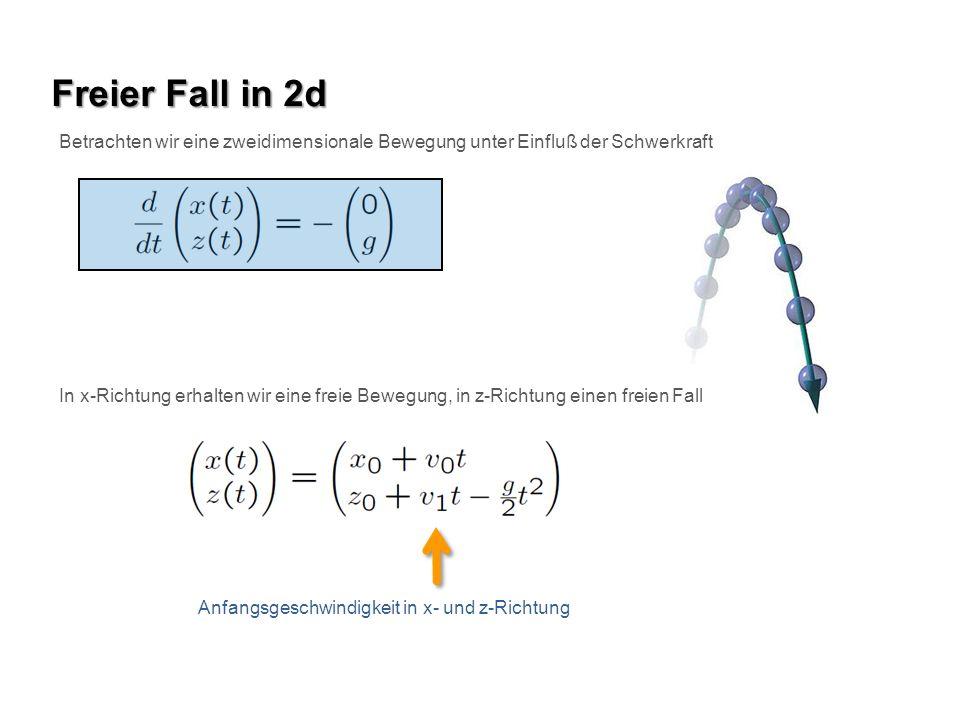Freier Fall in 2d Betrachten wir eine zweidimensionale Bewegung unter Einfluß der Schwerkraft.