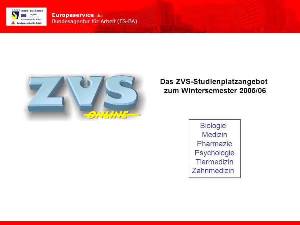 Das ZVS-Studienplatzangebot zum Wintersemester 2005/06