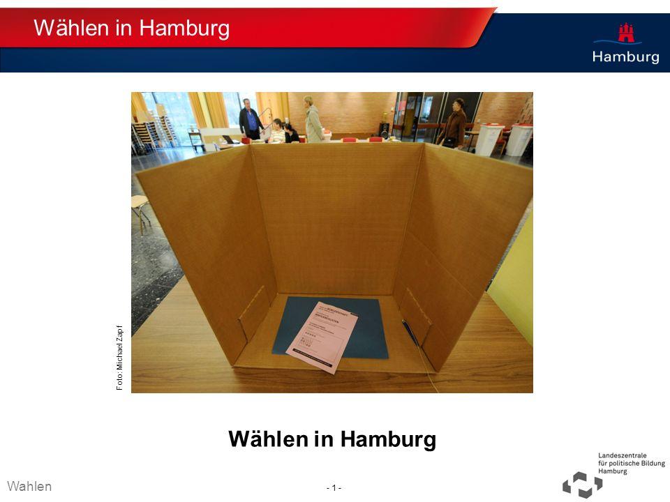 Wählen in Hamburg Wählen in Hamburg Wahlen Thema TT.MM.JJJJ - 1 -