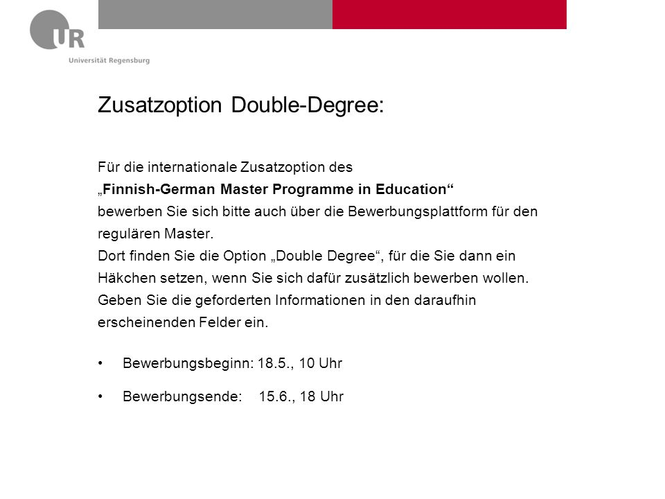 Zusatzoption Double-Degree: