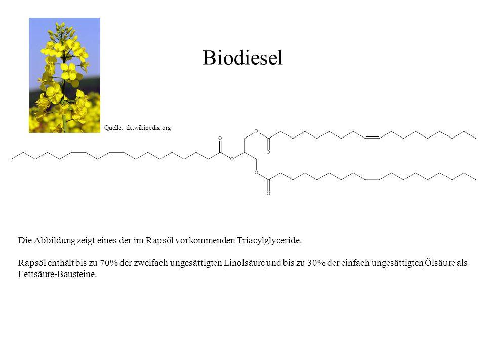 Biodiesel Quelle: de.wikipedia.org. Die Abbildung zeigt eines der im Rapsöl vorkommenden Triacylglyceride.