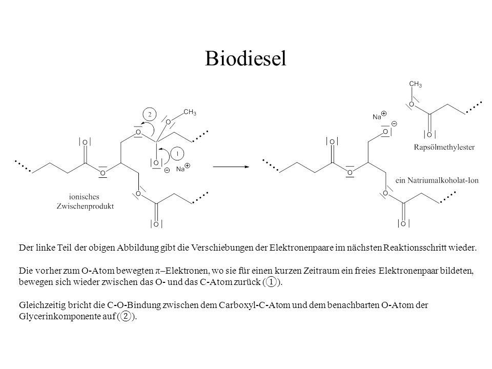 Biodiesel Der linke Teil der obigen Abbildung gibt die Verschiebungen der Elektronenpaare im nächsten Reaktionsschritt wieder.